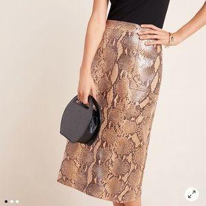 Anthropologie Current Air Snakeskin Skirt Size 2